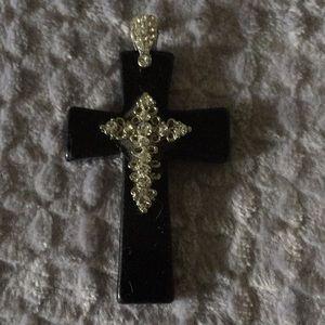Black Cross and CZ Necklace Pendant